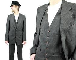 Vintage 3 Three Piece Suit 38L 33x32 Pinstripe Blazer Vest Pants Wool Dark Gray Free US