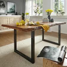 details zu esstisch 180x90 cm tisch gigi akazie massiv baumkante schwarz esszimmertisch
