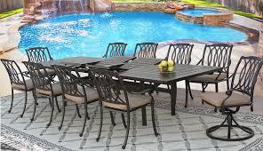 Cast Aluminum Patio Furniture With Sunbrella Cushions by San Marcos Cast Aluminum Outdoor Patio 11pc Set 44x130 Rect