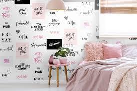 tapete hippe sprüche schwarz weiß und rosa esta home