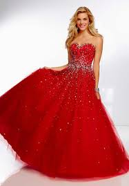 mz0354 ball gown red tulle crystals diamonds sweetheart
