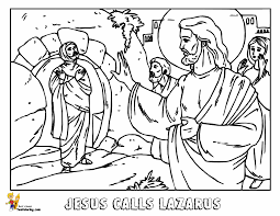 Bible Coloring Jesus Martha And Mary At YesColoring Color In Calls Lazarus