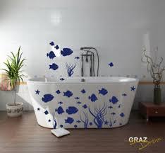 details zu wandtattoo wandaufkleber set für badezimmer fische seesterne algen muscheln