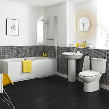 Gray Yellow And White Bathroom Accessories by We Love How The Bright Yellow Towels And Accessories Stand Out In