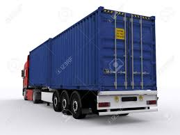 Trailer With 20ft Container Stock Photo, Picture And Royalty Free ...