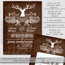 Printable Rustic Winter Woodland Deer Antler Wedding Invites And RSVP On Etsy 2500