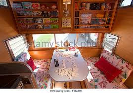 Interior View Of Breakfast Table Inside A Vintage Trailer At Trailers And Campers The