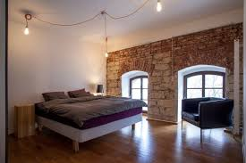 Loft Conversion Planner Of Modern Urban House In Downtown Small Bedroom Decorated With Stone Wall