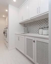 crisp clean and gorgeous cement tile in the laundry room