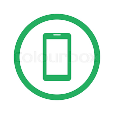 White Mobile Phone icon with long shadow on green circle