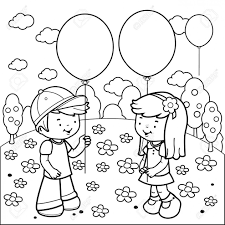 Children At The Park Playing With Balloons Black And White Coloring