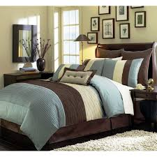 8 Pieces Luxury Stripe Comforter Blue And Brown Bed In A Bag