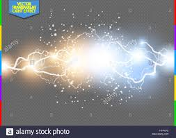 Vector Blue And Yellow Electric Lightning Bolt Energy Effect Illustration Bright Light Flare Sparks Transparent Background Hot Cold Power