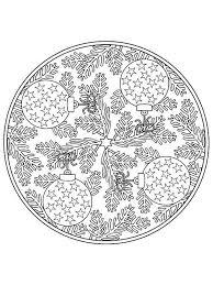 Mandala Christmas Tree Ornaments Coloring Pages