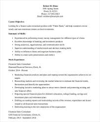 Financial Sales Consultant Resume