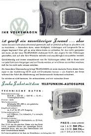 si e auto 3 ans oldtimer vw 1952 telefunken car radio