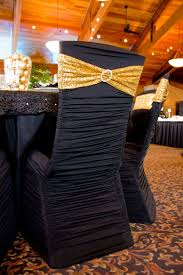 Black Ruched Chair Cover With Gold Sequin Spandex Chair Sash ... Black White Damask Runner With Tablecloths White Stretch Scuba Folding Wedding Chair Cover Party Supplies Champagne Satin Sashes On Ivory Spandex Covers In The Trimmings Seventh Heaven 57 Lifetime Whosale Polyester Event Chaircoverfactory 100pcs Universal For Supply Banquet Decoration Us Stock Ivory Chair Covers Esraldaxtreme Charcoal Grey Lavender Royal Blue
