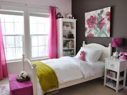 Girls Bedroom White and Dark Brown Color Ideas with Windows using