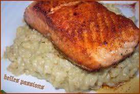 cuisiner pavé de saumon poele risotto au pesto et pavé de saumon belles passions