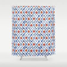 blau und rot ikat vorhang blau badezimmer dekor blau stoff dusche vorhang ikat print vorhang blau rot geometrischen druck dusche duschvorhang