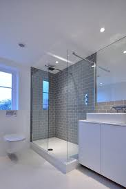 gray subway tile backsplash bathroom contemporary with grey metro