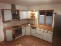 küche l form weiss blau arbeitsplatte buche 315cm 226cm