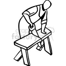Royalty Free Black And White Man Using A Hand Saw To Cut Piece Of Rh Graphicsfactory Com