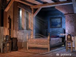 fototapete schlafzimmer in einem alten haus