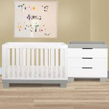 modo 3 in 1 convertible crib set in grey white