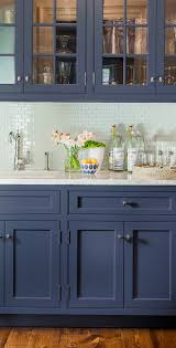 Light Blue Gray Subway Tile by Emily Henderson Blue Grey Kitchen With Concrete Tiles In Bold