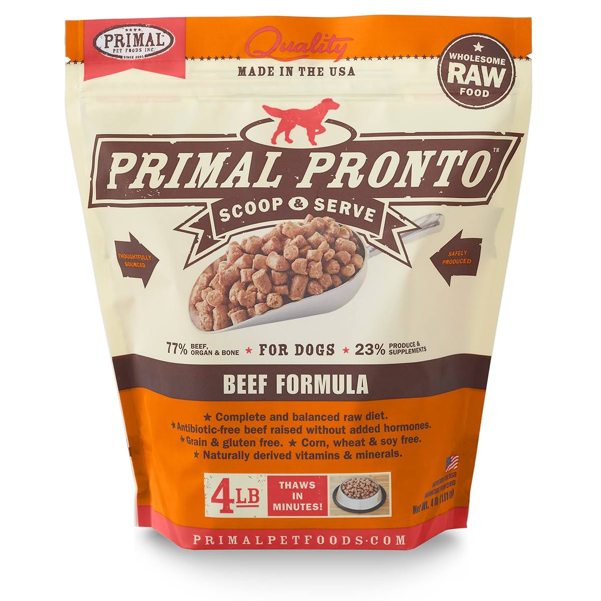 Primal Pronto Dog Food - Beef Frozen, 4lb
