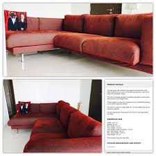 ikea nockeby 2 seat chaise lounge sofa l shape on right side