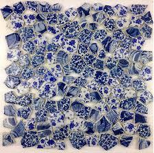 blue porcelain mosaic wall tiles backsplash pcmt116 3d mosaic tile