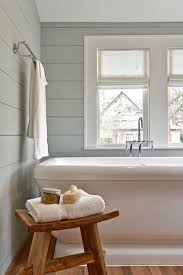 Bathrooms Rustic Zen Style Stool Beside Tub