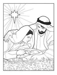 Nativity Coloring Pages Mary And Joseph With Baby Jesus