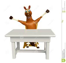 Horse Cartoon Character With Table And Chair Stock Illustration ...