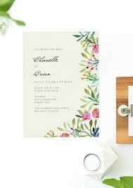 Hand Painted Watercolour Wedding Invitations Floral Leaves Forest Pretty Pink Rustic Rose Invite Sail And