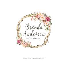 Wreath Flower Logo Premade Design Floral Rustic Bohemian