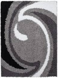carpet city sale teppich modern hochflor shaggy wohnzimmer wellen muster grau schwarz weiss größe 80 300 cm
