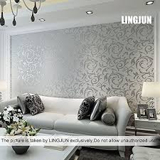 Modern Minimalist Non Woven Water Plant Pattern 3D Flocking Embossed Wallpaper Roll Living Room Bedroom Silver Grey 3