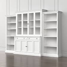 Cameo 4 Piece White Glass Door Wall Unit With Open Bookcases