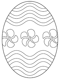 Free Easter Egg Coloring Page With Flowers And Wavy Lines Just Right Click Save