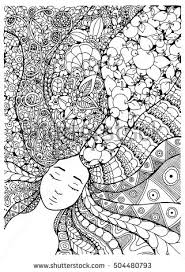 Vector Illustration Zentangl Girl With Flowers In Her Hair Doodle Drawing Meditative Exercise