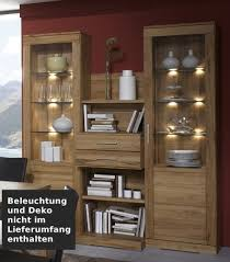 wohnwand esszimmer vitrinen regal kernbuche massiv geölt natur lanatura
