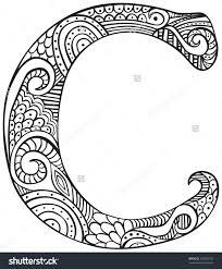 Hand Drawn Capital Letter C Black Stock Vector 367959722