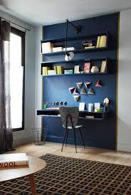 bureau dans le salon desks shelving and walls