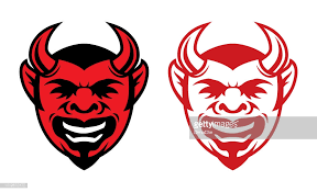 Horned Laughing Devil Face Icon Vector Art