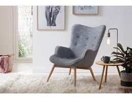 relaxsessel grau webstoff mit armlehnen ergonomische form anjo
