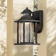 westray 11 1 2 h black motion sensor led outdoor wall light