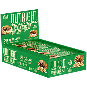 MTS Nutrition Outright PlantBased Vegan Friendly Protein Bar Banana Walnut Peanut Butter (12 Bars)
